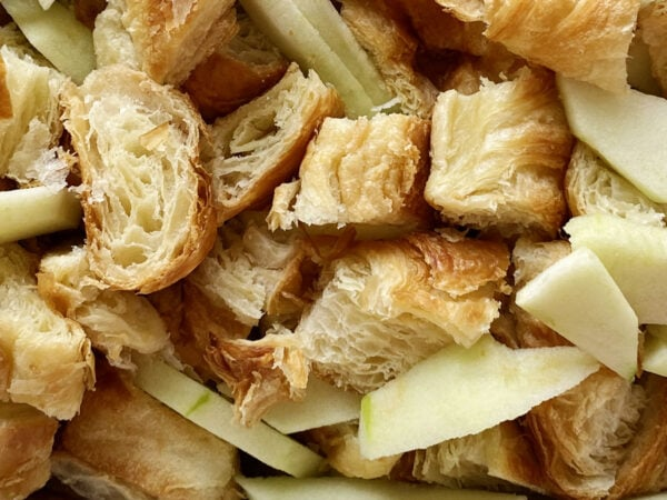 Cut up croissants and apples