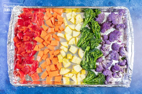 Cut up vegetables of all different colors on a baking sheet