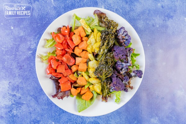 Rainbow buddha bowl on a blue background