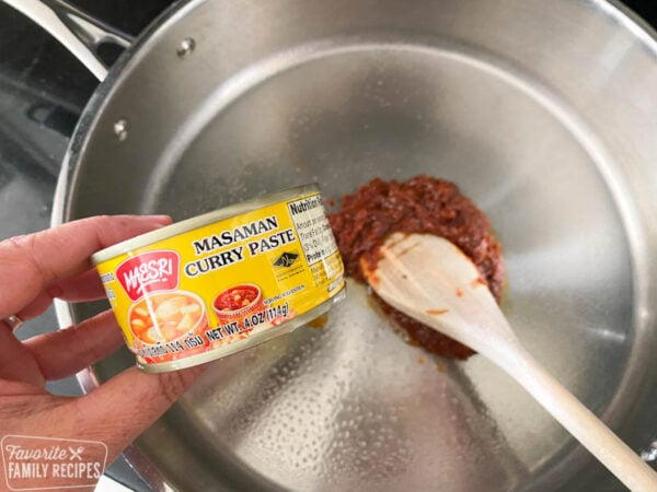 Massaman curry paste in a pan