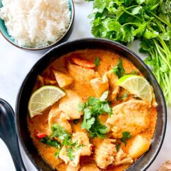 Massaman curry in a bowl by rice