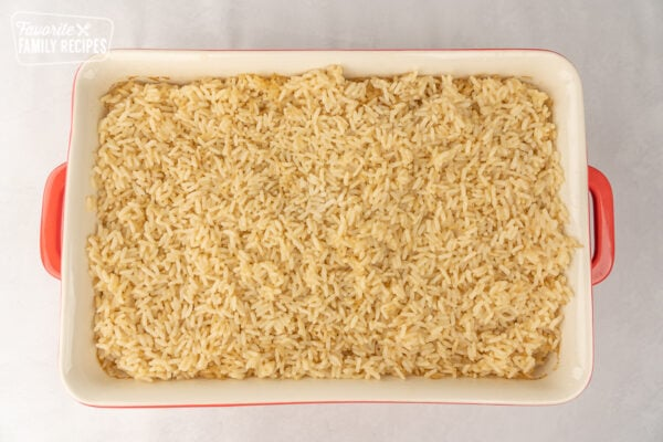 Rice in a large casserole dish