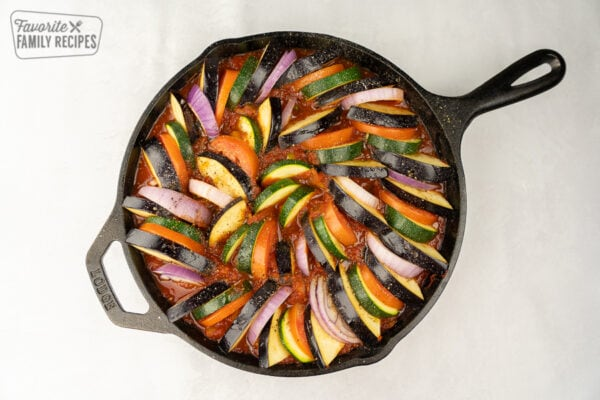 Ratatouille right before it goes in the oven so the veggies are still raw.