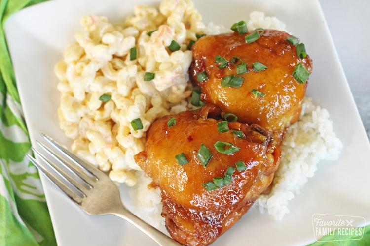 Shoyu chicken with Hawaiian mac salad and rice