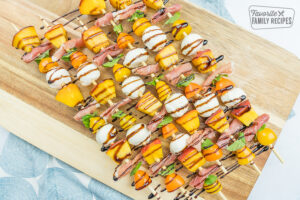 caprese salad skewers on a wooden skewer