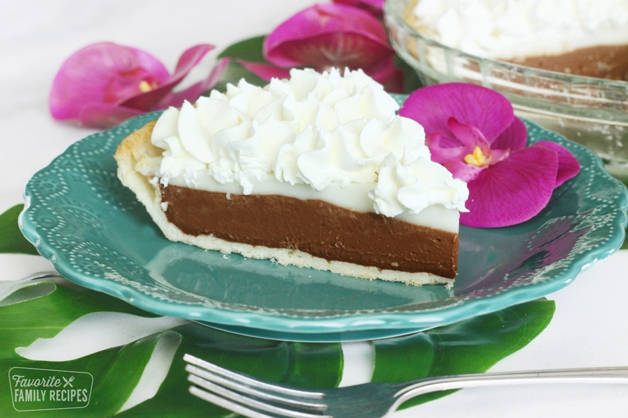 Perfect slice of chocolate haupia pie on a plate