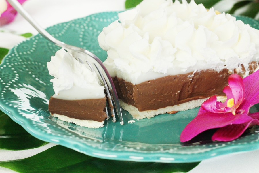 Close up of a slice of chocolate haupia pie