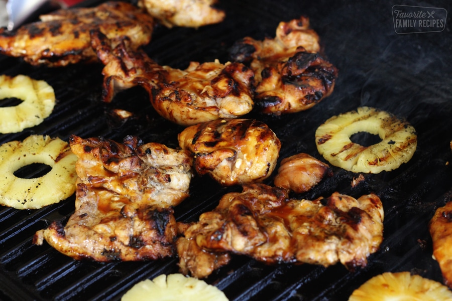 chicken on the grill with pineapple