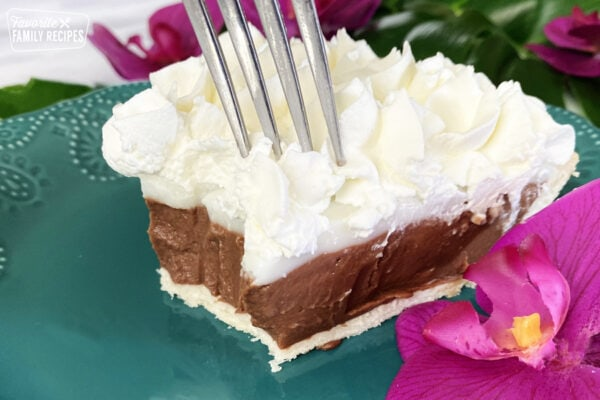 Chocolate haupia pie with a fork