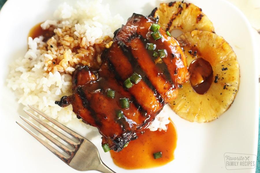 huli huli chicken with rice and pineapple