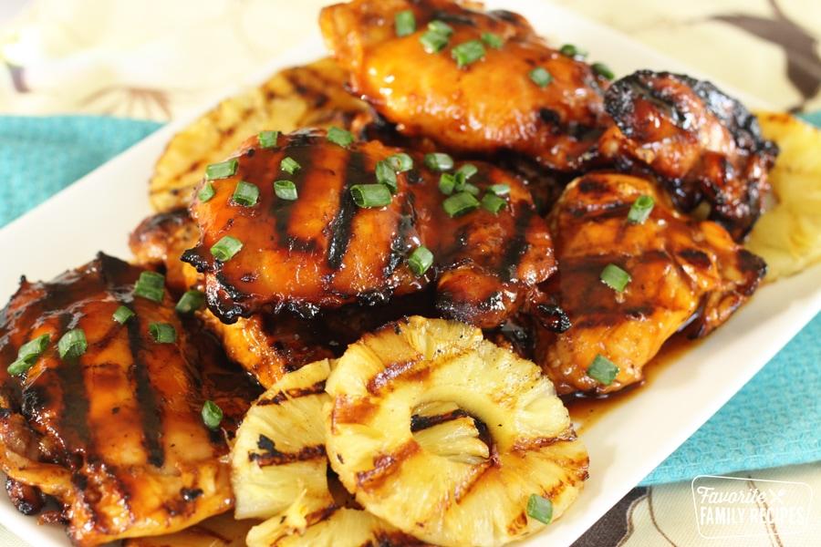huli huli chicken on a platter