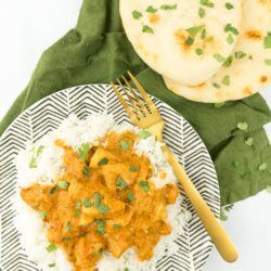 Instant Pot Chicken Tikka Masala with rice and naan bread