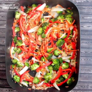 Frying veggies in a skillet