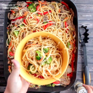 Finished stir fry in a bowl