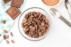 chopped chocolate in a small glass bowl