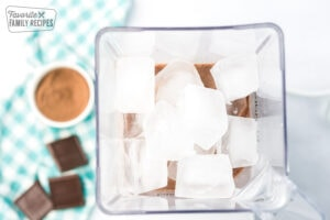 frozen hot chocolate mix in a blender with ice