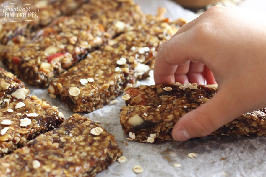 Grab and go Granola bars on wax paper