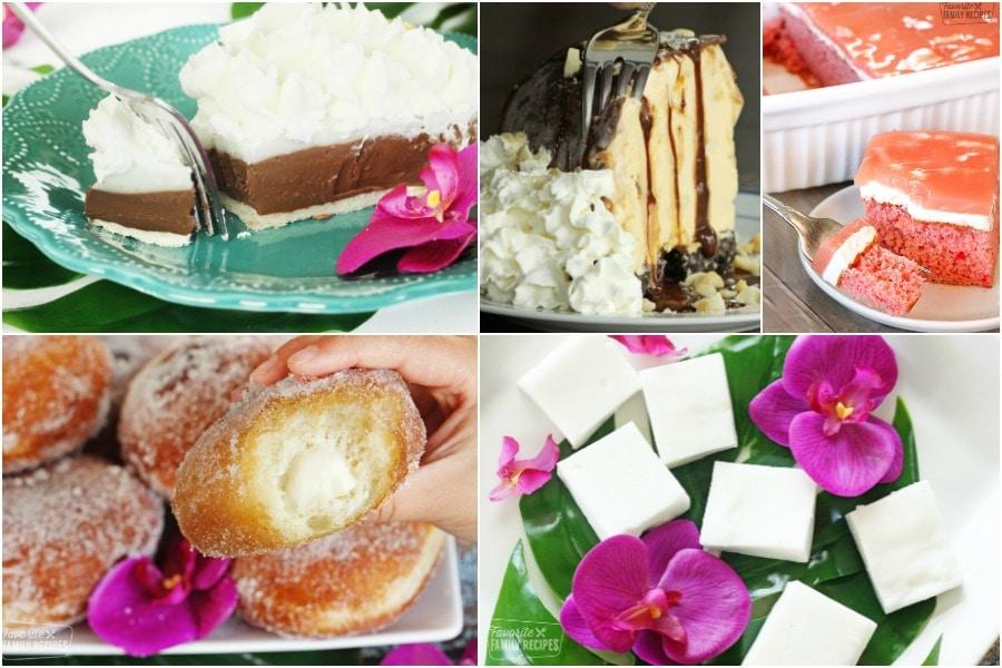 Collage of Hawaiian desserts including haupia pie, malasadas, guava cake and hula pie