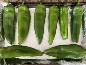 Hatch chiles on a pan