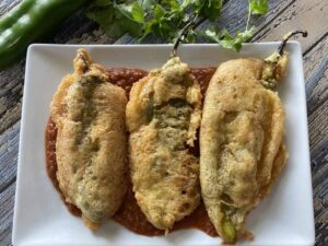 Chiles rellenos on a plate