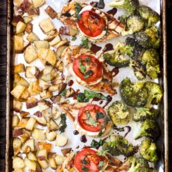 One Pan Chicken and Veggies all on a single cookie sheet