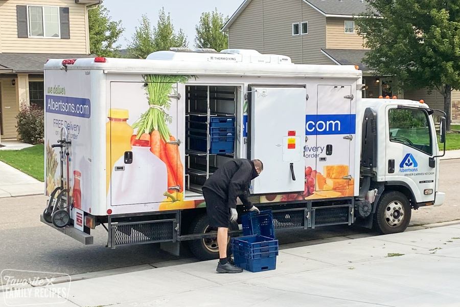 Albertsons delivery truck and delivery driver