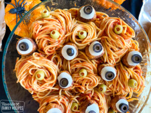 Close up of spaghetti with meatballs that look like eyes