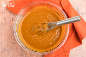 Pumpkin cobbler filling in a large bowl