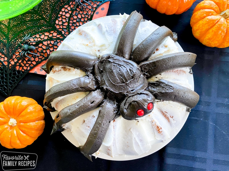 Top view of bundt cake that looks like a giant spider