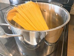 spaghetti noodles in a pot