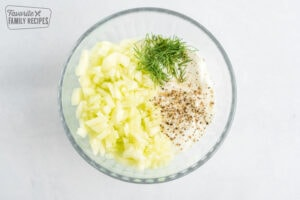 ingredients for tzatziki sauce in a bowl