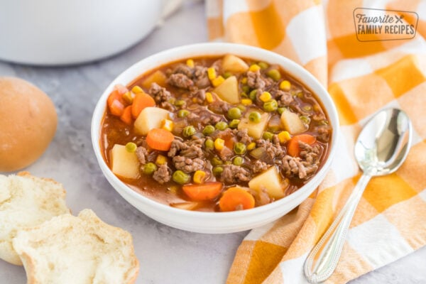 A bowl of crock pot vegetable beef soup
