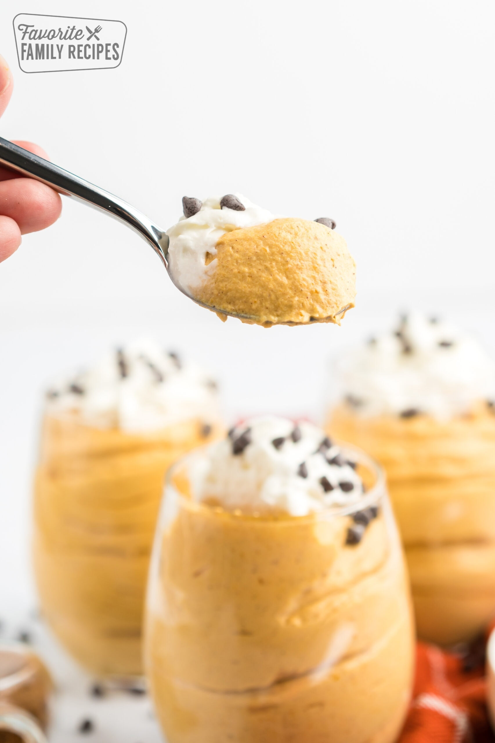 A spoonful of pumpkin mousse