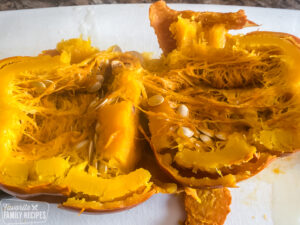 Cooked pumpkin split in half