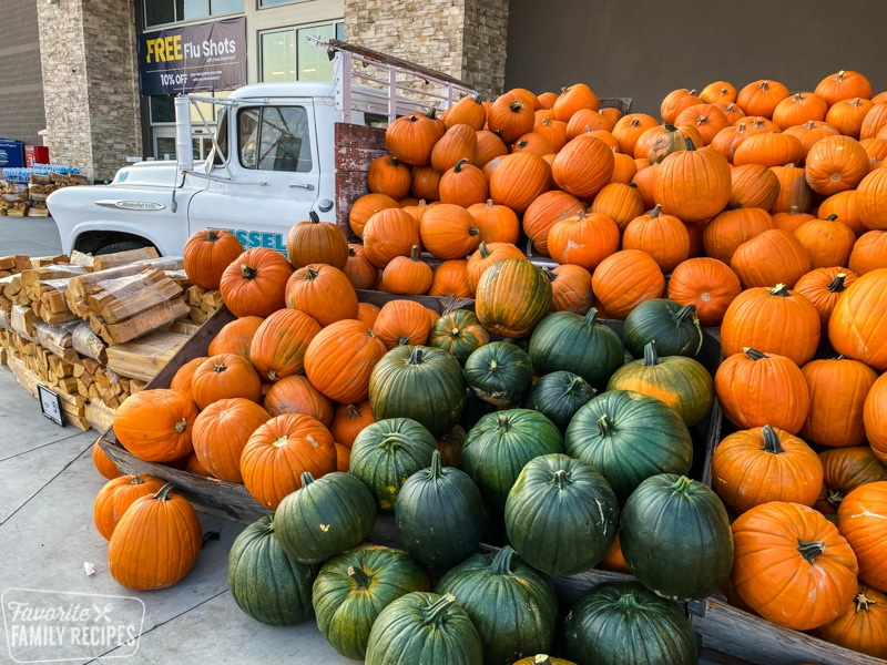 A large truckload of pumpkins