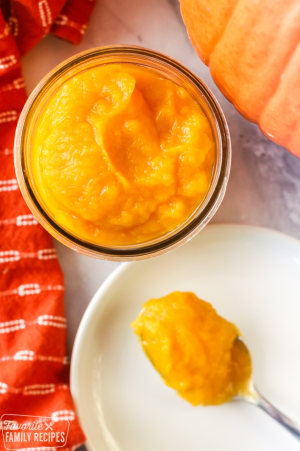 Closeup of pumpkin puree