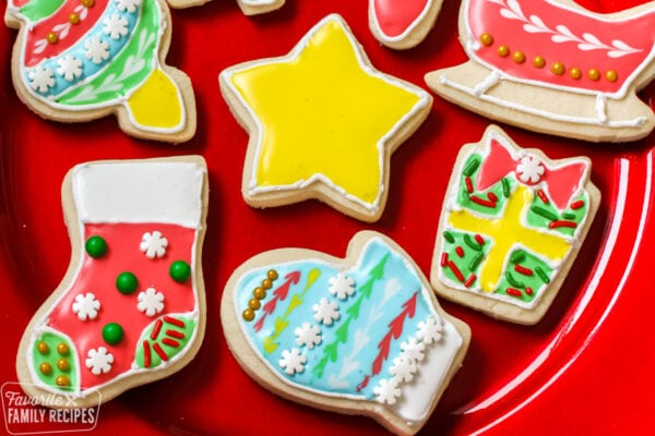Decorated Christmas cookies with icing and sprinkles