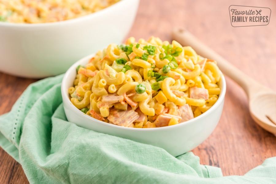 Macaroni salad in a white bowl