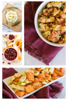 A collage of Thanksgiving sides including potatoes, stuffings, cranberry sauce, and roasted vegetables