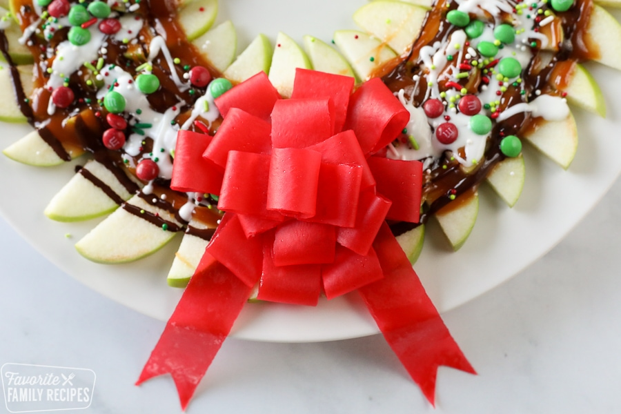 Close up of candy bow made with fruit by the foot