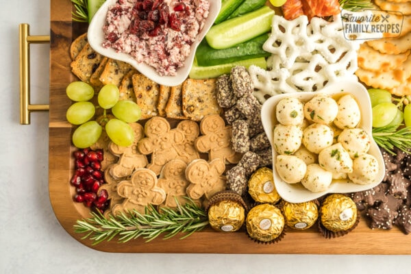 One corner of a christmas themed snack board