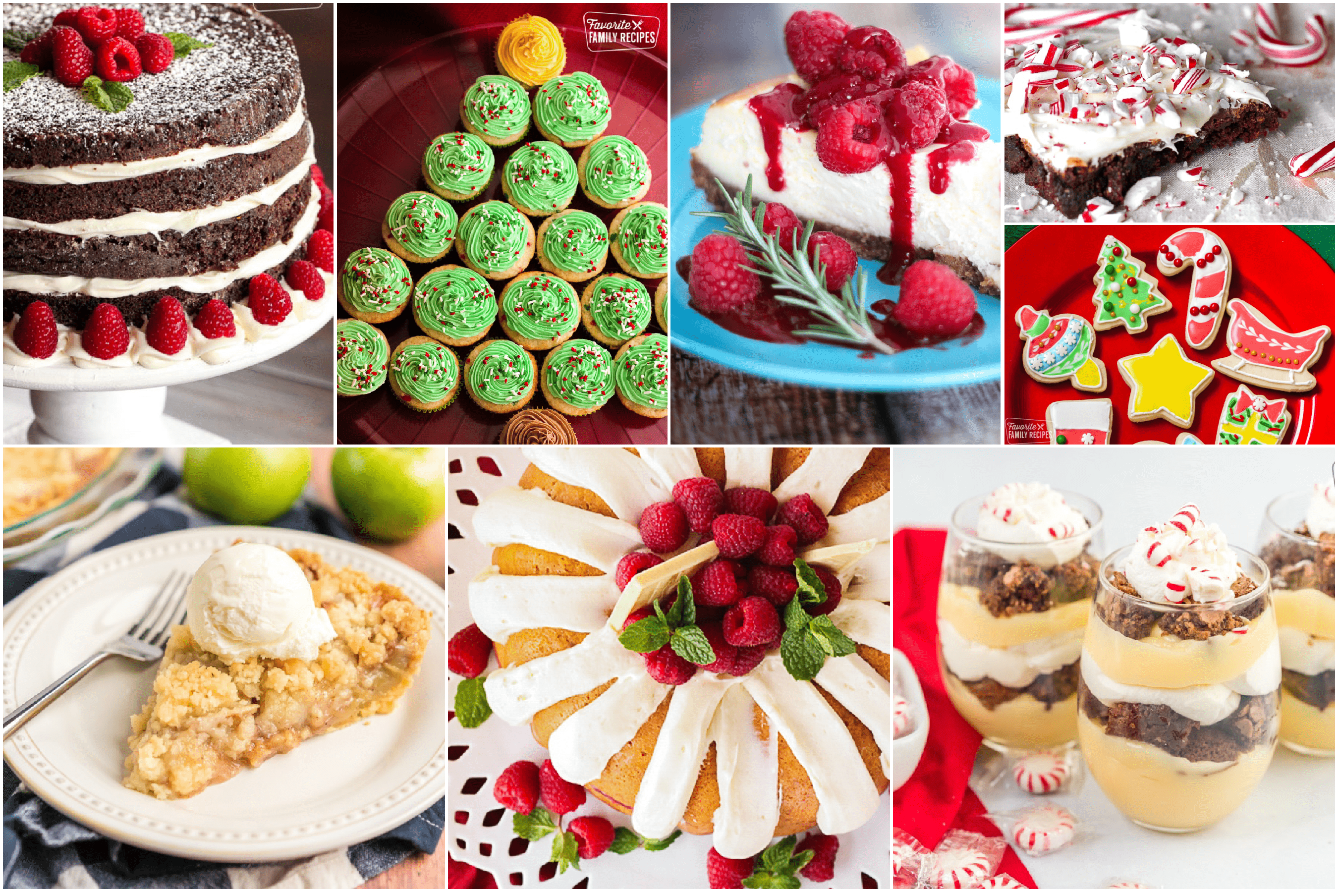 Collage of colorful Christmas desserts such as cakes, cupcakes, cheesecakes, and more!