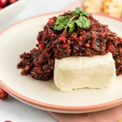 Cranberry salsa on top of a block of cream cheese