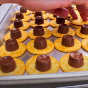 melted Rolo candies on ritz crackers