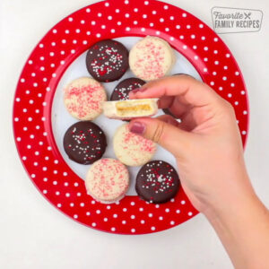 Dipped Ritz cookies on a plate
