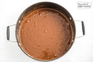 Chocolate cake mixture in a pot