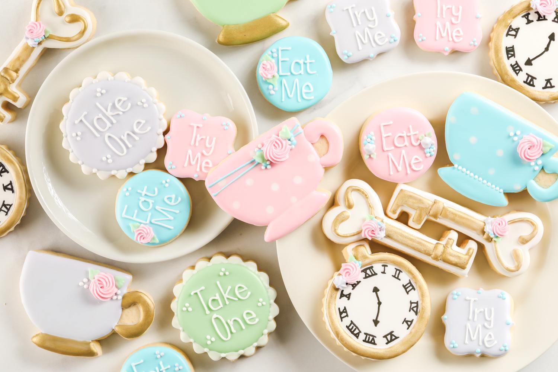 Fancy Alice in Wonderland sugar cookies