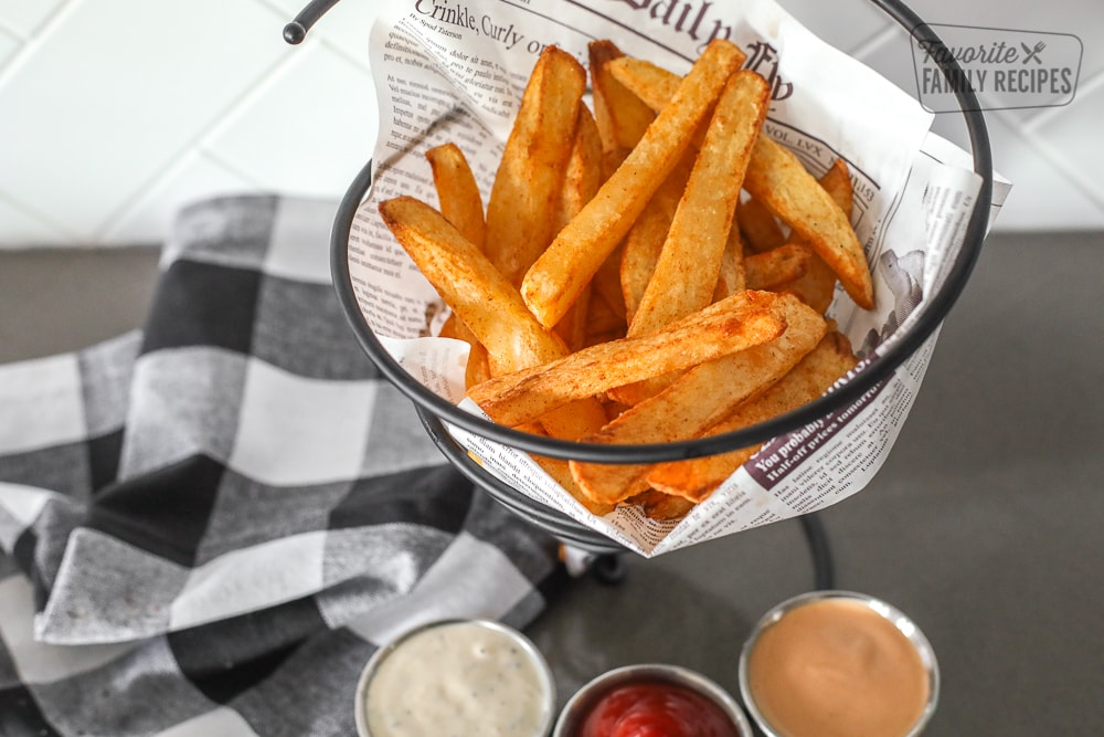 Overlooking into the basket of French fries