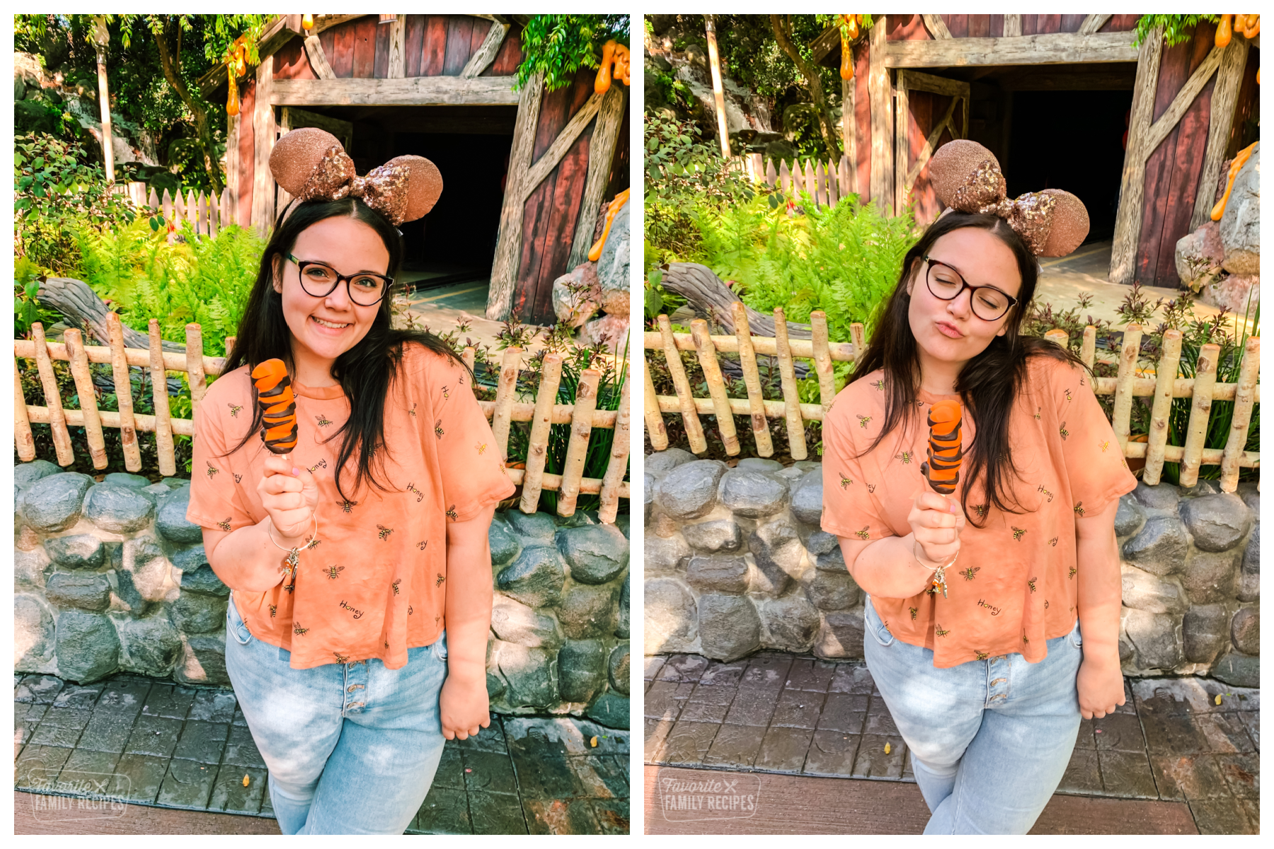 Cute girl wearing Disney ears eating a Tigger tail