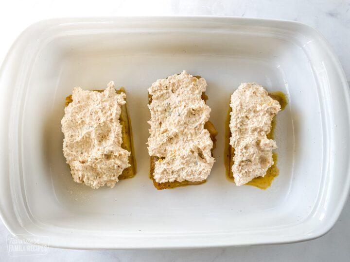 Mahi mahi in a baking dish ready to be baked